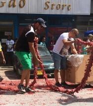 A multi-person job, setting out the pagara.